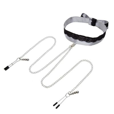 Fifty Shades of Grey Play Nice Satin & Lace Collar & Nipple Clamps