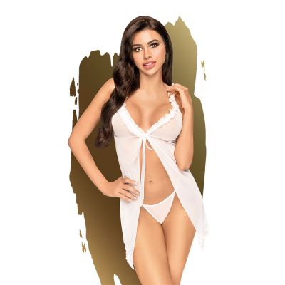 Penthouse - After sunset - Ruffle babydoll with thong, 2 pieces - white - M/L
