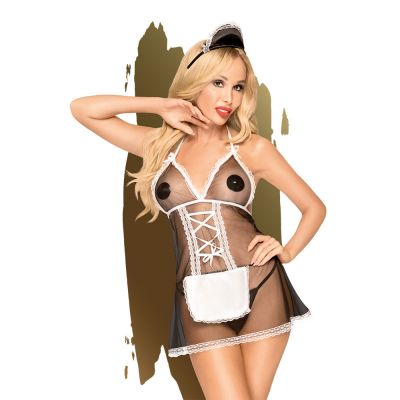 Penthouse - Teaser - Mesh babydoll with fine lace trim including thong and hairpiece, 3 pieces - black - S/M