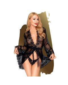 Penthouse - Hypnotic power - Short kimono with delicate eyelash lace and thong, 2 pieces - black - XL